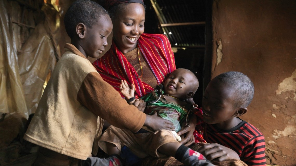 After Nasibo Asuran gave birth to her eight-month-old daughter, Ramah – a Concern trained community health volunteer – was sent to ensure that her baby had a healthy start to life. Kenya. Photo: Peter Caton/Concern