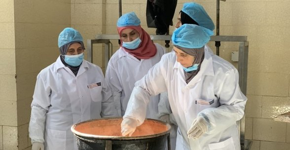 Syrian women receive training in cheese-making at a dairy co-op in Northern Lebanon. Photo: Jason Kennedy / Concern Worldwide.