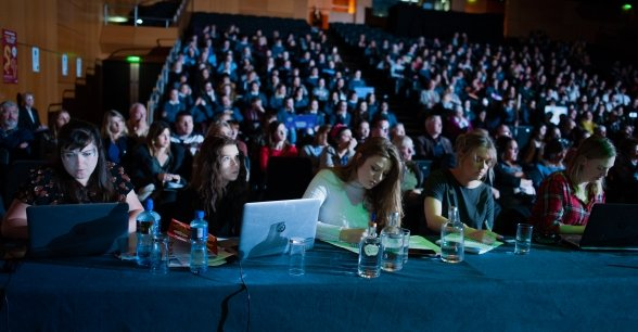 Adjudicators marking students on their debates Photo: Camila Gomes / Concern Worldwide /  May 2019