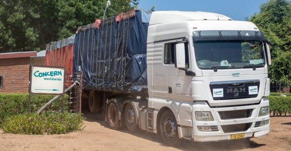 A lorry and trailer heads out, packed with supplies for the worst effect areas of the Nsanje Region. Photo: Gavin Douglas/ Concern Worldwide.