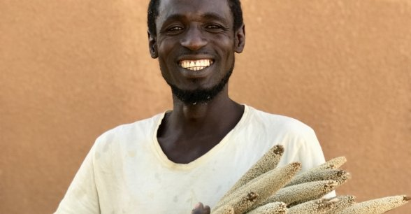 The remainder of Mika Abu's first ever short season millet harvest. Photo: Darren Vaughan/Concern Worldwide