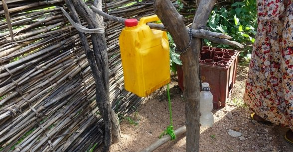 A tippy tap outside a woman's home in Chad. Photo: Lucy Bloxham