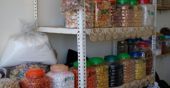 Some of the beans, spices, and lentils on sale in Bushra's shop. Photo: Darren Vaughan