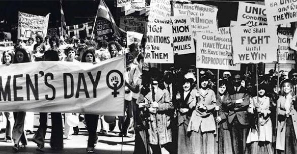 International Women's Day rally image in black and white