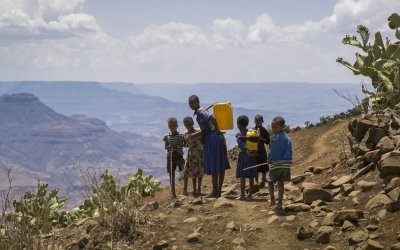 Concern is trucking gallons of clean water to drought-affected communities in the Amhara region of Ethiopia. Photo: Kieran McConville / Concern Worldwide.