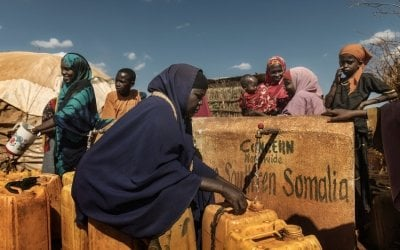 A Somalian IDP camp with 183 households who Concern supports through cash transfers, emergency education and also provision of water and other WASH related activities. Photo: Marco Gualazzini/ Concern Worldwide.