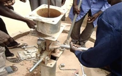 Rehabilitation of a hand pump in Seleia Town, Republic of Sudan. Photo: Concern Worldwide.
