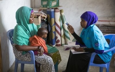 A nutrition center run by Concern Worldwide at Weydow, on the Afgoi Corridor, just outside Mogadishu in Somalia. Numbers of arrivals have been steadily increasing in recent weeks. as has the severity of cases of malnutrition. Photo: Concern Worldwide