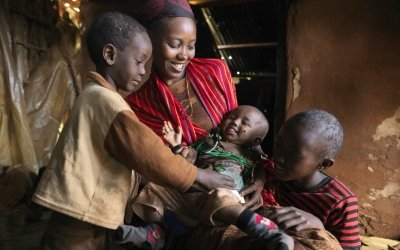 After Nasibo Asuran gave birth to her eight-month-old daughter, Ramah – a Concern trained community health volunteer – was sent to ensure that her baby had a healthy start to life. Photo:  Peter Caton/2017/Kenya