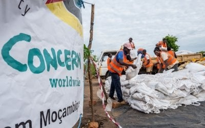 Workers unload supplies from a truck at a Concern distribution centre in Ndeja, Mozambique. Photo: Tommy Trenchard / Concern Worldwide