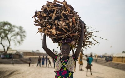 Nyahou, a young IDP living in Bentiu's PoC comes back from gathering firewood outside of the protection of the site. Photo: Steve de Neef