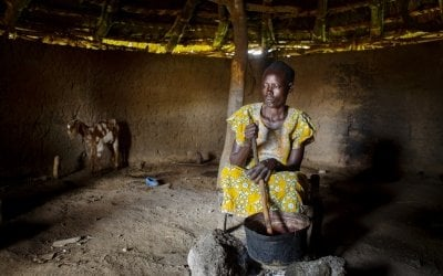 Leylo* at her home, who is a member of a nutrition programme in Aweil. Photo: Abbie Trayler-Smith