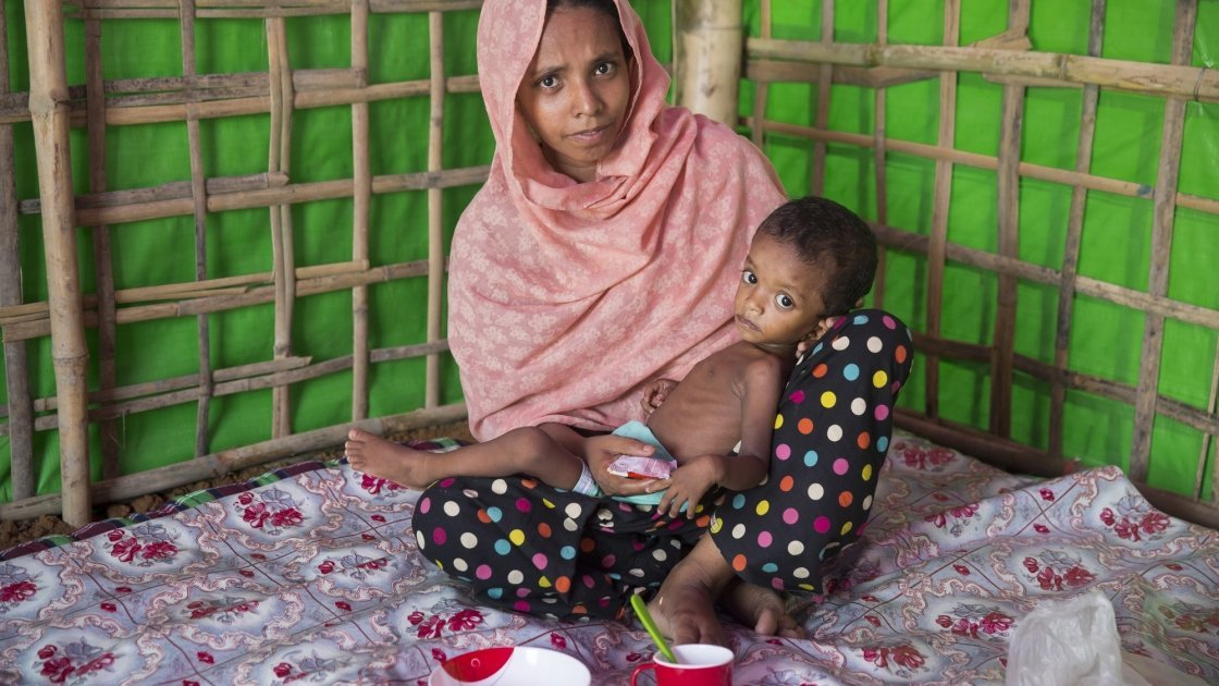 Layru and Hala at Concern Worldwide's Nutrition Support Centre. Bangladesh, Photo: Kieran McConville