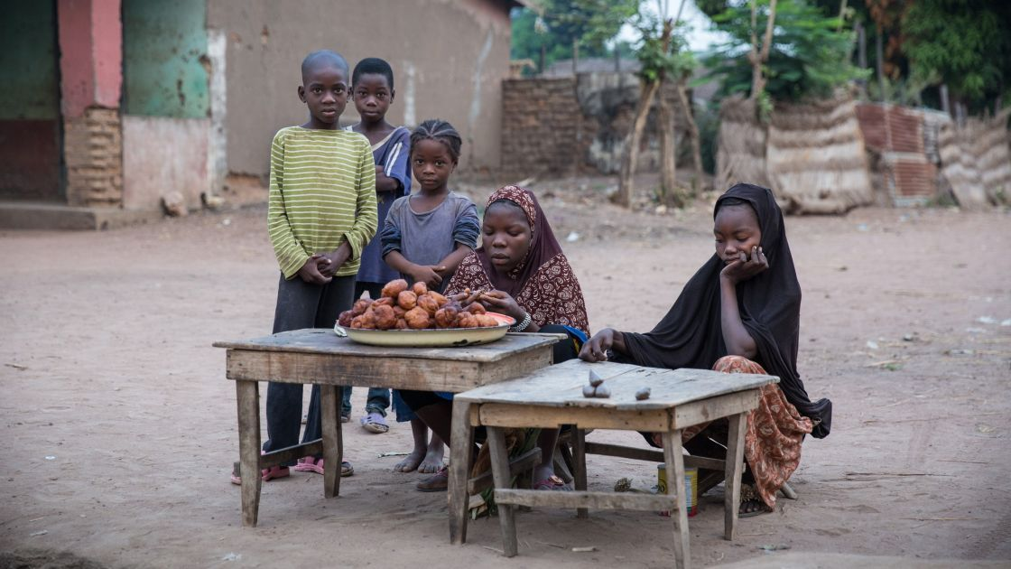 Children set up a stall to sell their wares to early morning passers-by in the town of Kouango, Central African Republic. This is one of the poorest areas of one of the poorest countries in the world.