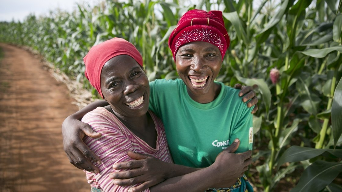 Esime Jenaia, a Lead Farmer for conservation agriculture, at her plot in Chituke village, Mangochi, Malawi, with neighbor Esnart Kasimu. Esime Jenaia, a Lead Farmer for conservation Agriculture, at her plot in Chituke village, Mangochi, Malawi, with neighbor Esnart Kasimu. Photo: Kieran McConville