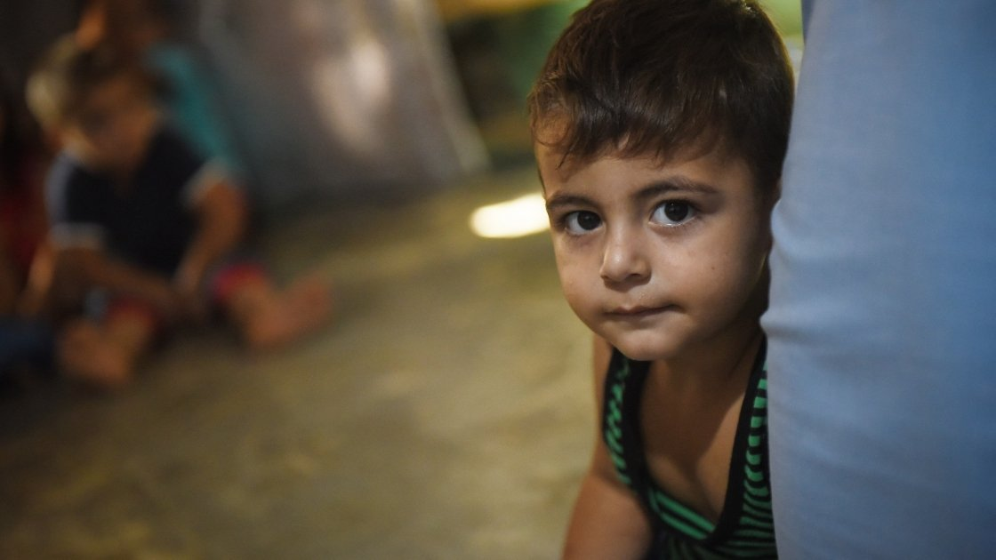 *Mohamad's son *Khaled, 3, pictured in the family home which has been kitted out by Concern with toilets, water tanks, blankets and insulation for the winter, by Concern, in Northern Lebanon. Photograph by Mary Turner