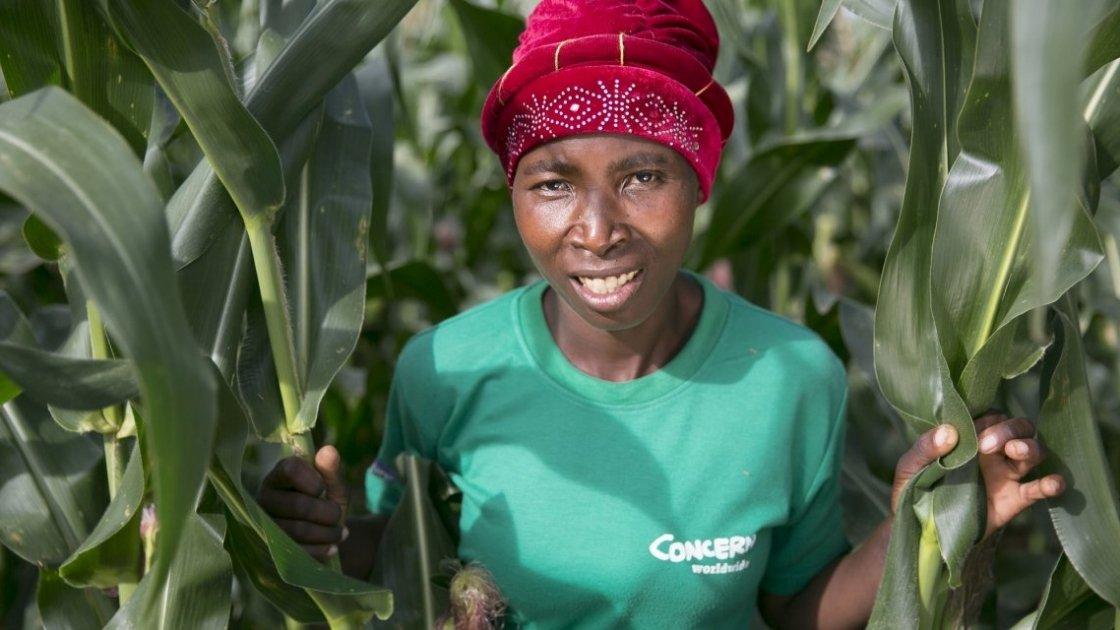 Esime Jenaia, a Lead Farmer in Concern's conservation agriculture programme. Photo: Kieran McConville / Concern Worldwide.