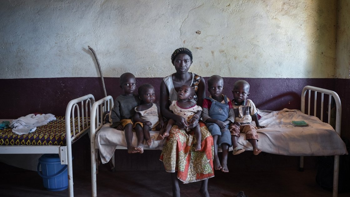 Isabelle and her sons, who are all are acutely malnourished. Photo: Chris de Bode