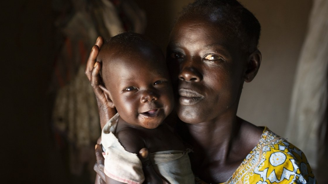 Leylo* with her youngest child six month old, Dit*. Leylo* is a member of Concern's Targeted Supplementary Feeding Programme. Photo: Abbie Trayler-Smith