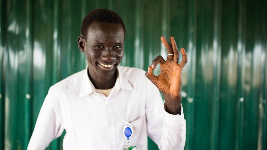 Michael is a nutiriton officer for Concern in Bentiu PoC. Photo: Steve De Neef