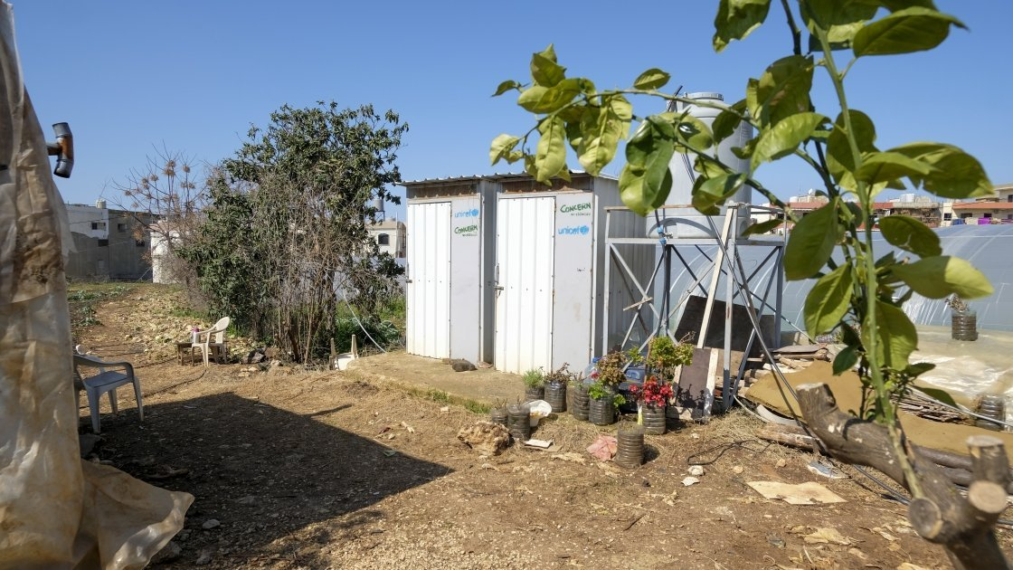 Latrines built by Concern on an informal settlement for Syrian refugees. Photo: Darren Vaughan