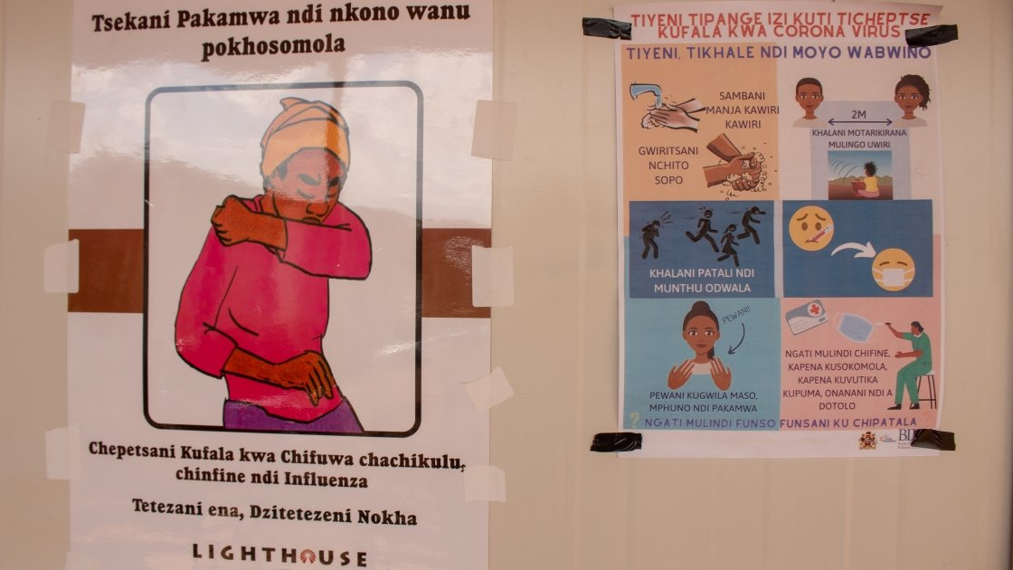 Covid-19 prevention information displayed in Malawi