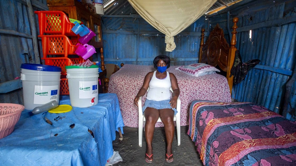 Louismene, who has received hygiene kits from Concern in Haiti