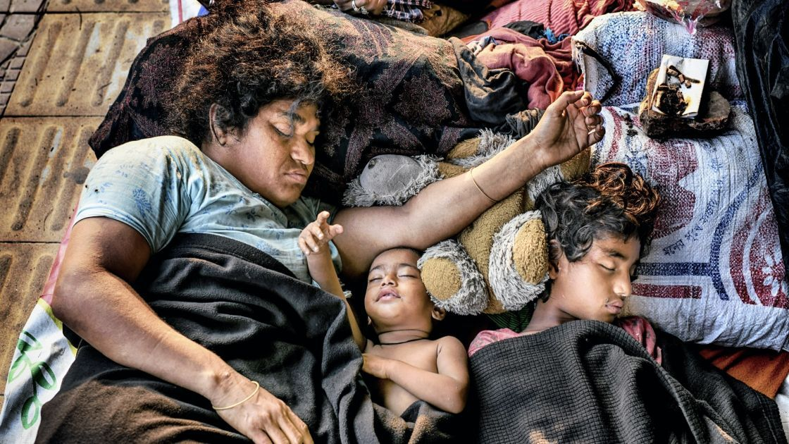 A homeless family sleeping during lockdown for Covid-19 pandemic, Bangladesh. Photo: Mohammad Rakibul Hasan