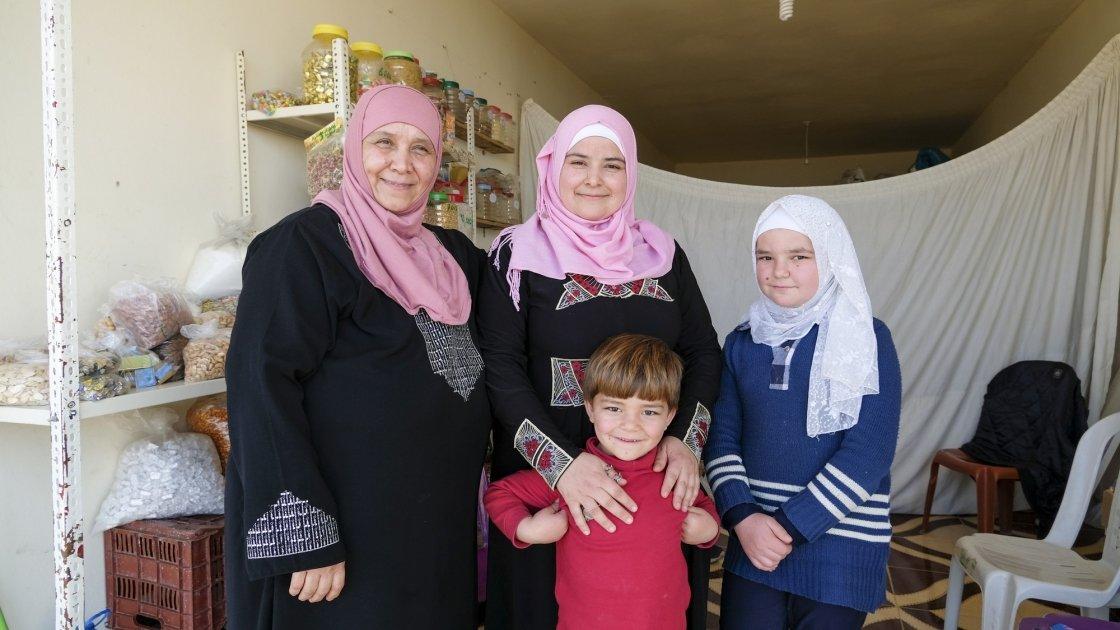 Bushra with her two children, Nadia and Abdul, and her mum Dalia. Photo: Darren Vaughan
