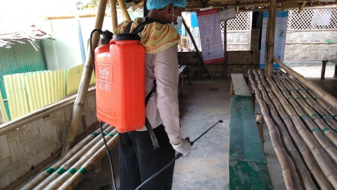 A Concern nutrition centre being disinfected in Cox's Bazar
