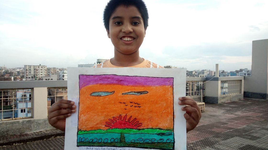 Jarif with his artwork, Bangaldesh.