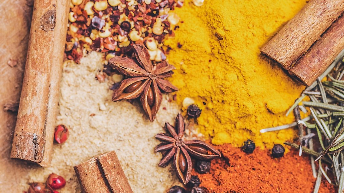 Selection of colourful spices