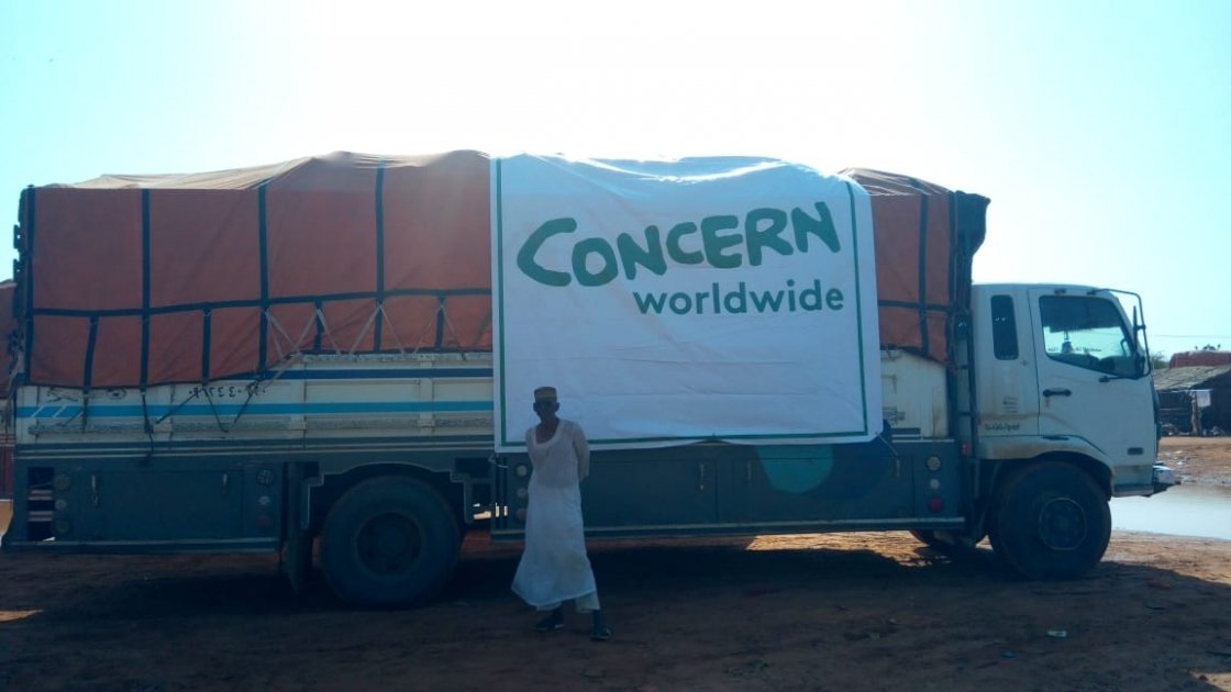 A large truck of supplies with Concern Worldwide branding