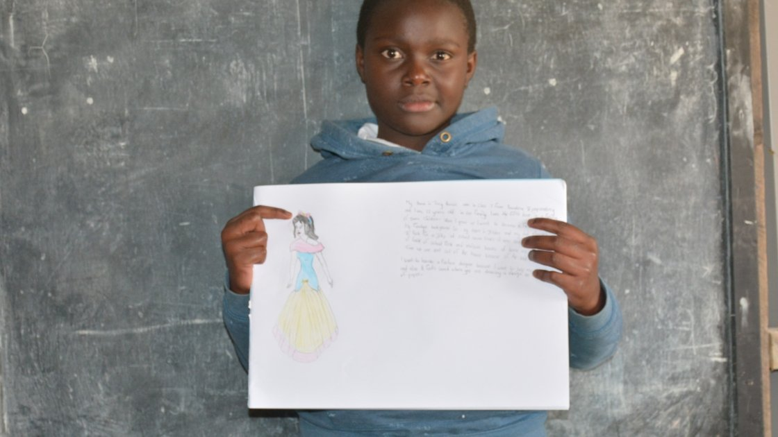 Tracy from Kenya wants to be a fashion designer when she grows up.