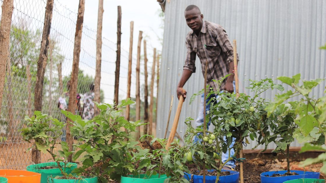 In a camp in Juba, we have given training, tools and seeds to displaced people so they can grow vegetables. Photo: Samir Bol