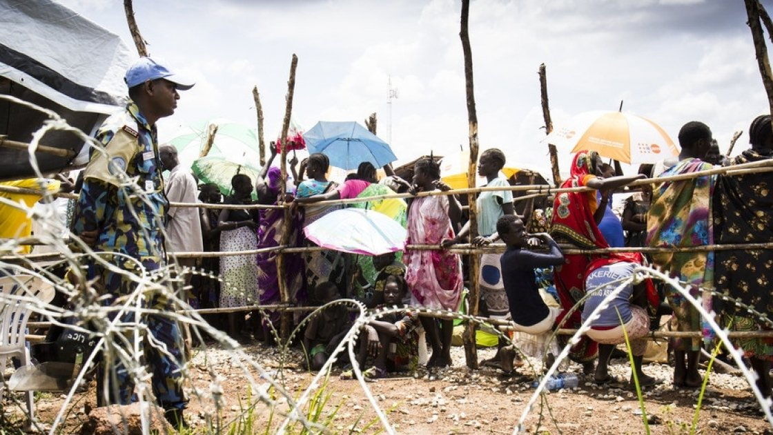 Internally displaced people queuing at a Protection of Civilian camp near Juba, South Sudan. Photo: Crystal Wells / Concern Worldwide.