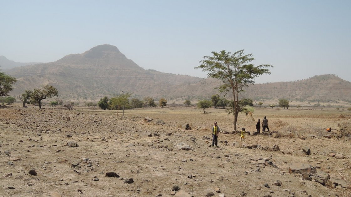 Children walk over agricultural land in Tselmti woreda, Ethiopia. Nothing is growing in the current drought. Photo: David Hunn/Concern Worldwide.