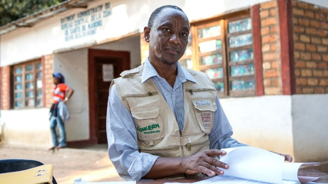 Patrick Wathome, a Concern engineer in the Democratic Republic of Congo (DRC), speaks about his work in rural communities to improve Water, Sanitation and Hygiene (WASH) facilities and practices. Photo: Concern Worldwide.