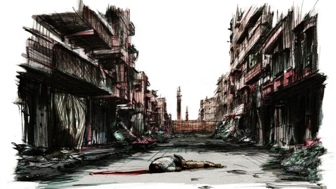 A man lies dead on a street in Syria. From Six years of War, Six Shattered Lives, illustrated by Marc Corrigan for Concern Worldwide.