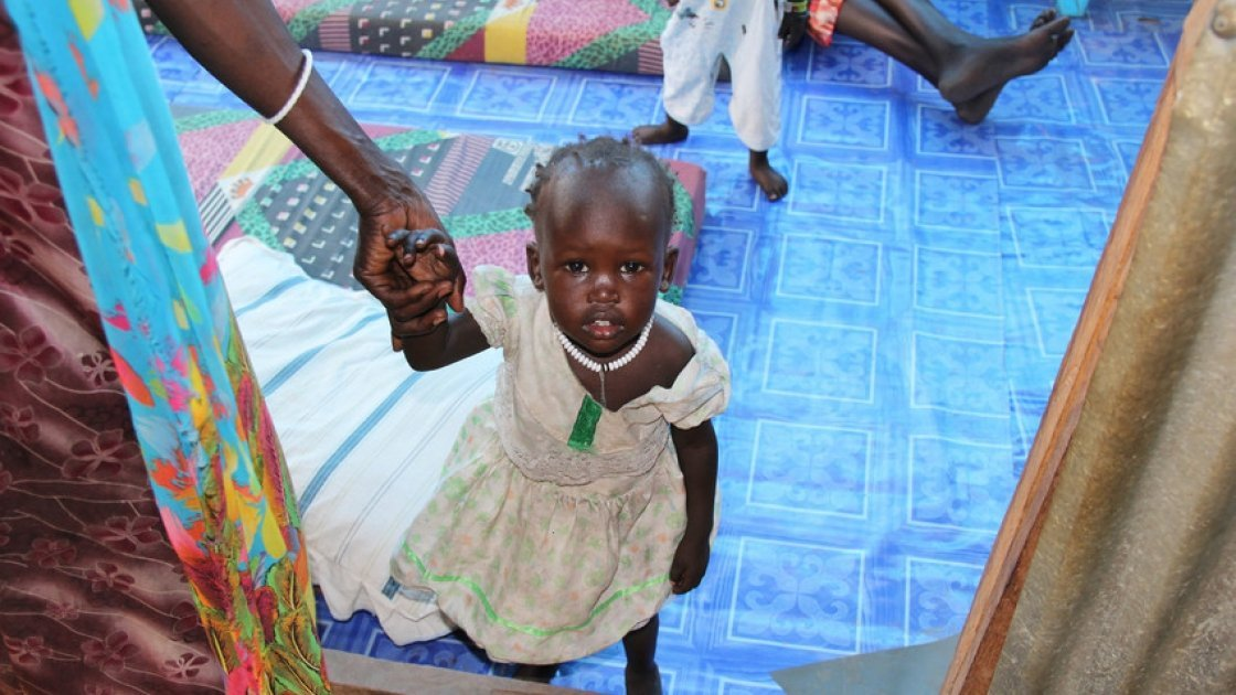 10 month old *Axlam inside Concern's TFSC in Juba. Photo: Kristin Myers  *Name changed for security reasons