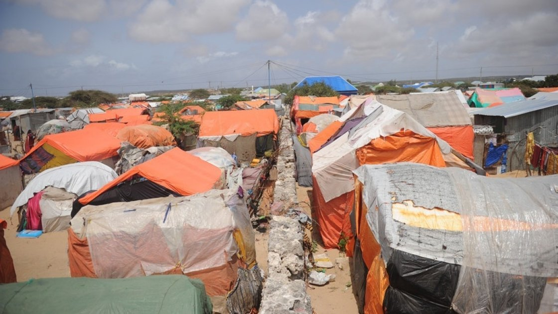 Makeshift houses in a camp for Internally Displaced People in Somalia. Photo: Mohamed Abdiwahab / Concern Worldwide.