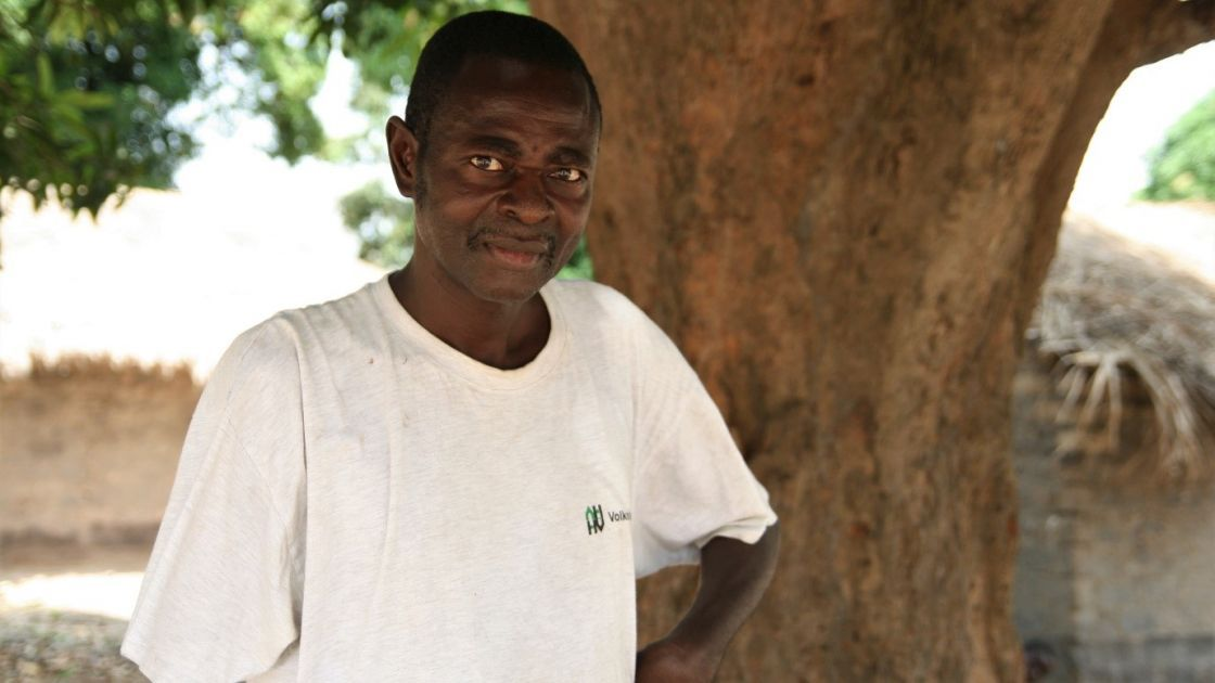 Albert* lost his arm in an attack by militia forces in 2017, after which he and his family fled.