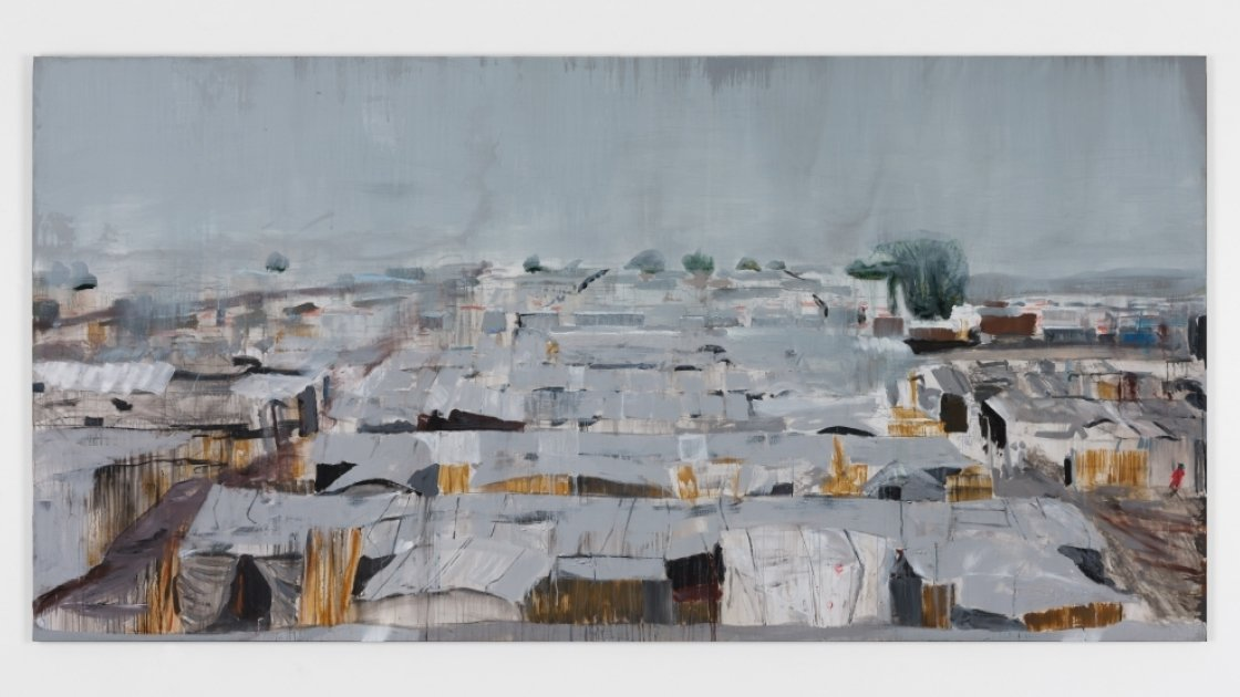 Brian Maguire, Protection of Civilians camp, Bentiu, South Sudan, 2018.  200 x 400cms arcylic on linen.