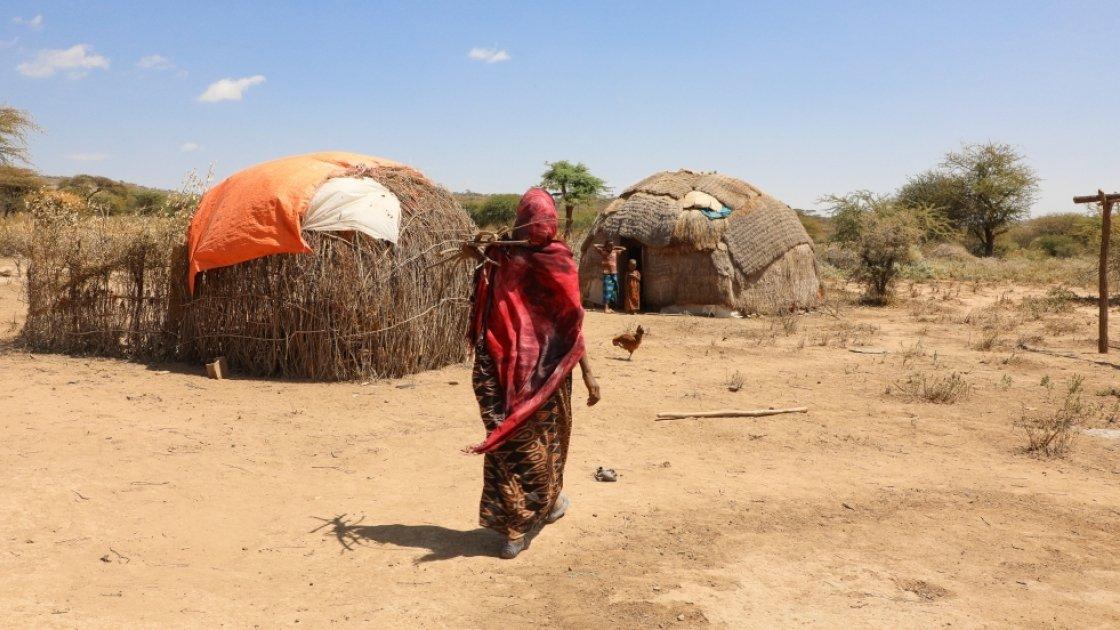 Khayro Ali shares her traditional tukul home with her husband Ishmael and their four children in Filtu, Somali Region, Ethiopia. Photo: Jennifer Nolan/ Concern Worldwide