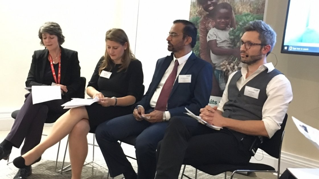 Global Hunger Index 2017 launch in London. The panel included Tamsyn Barton, Theo Clarke, Dr Mazhar Alam, and Dr Jason Hickel (left to right)