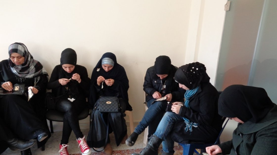 Women taking part in embroidery workshops run by Concern in Lebanon. Credit: Abbie / Concern Worldwide