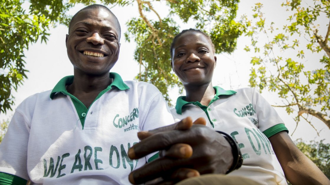 Mulbah and his wife Kabah who are Changemakers in the village of Kalamata in Liberia. Photo: Concern