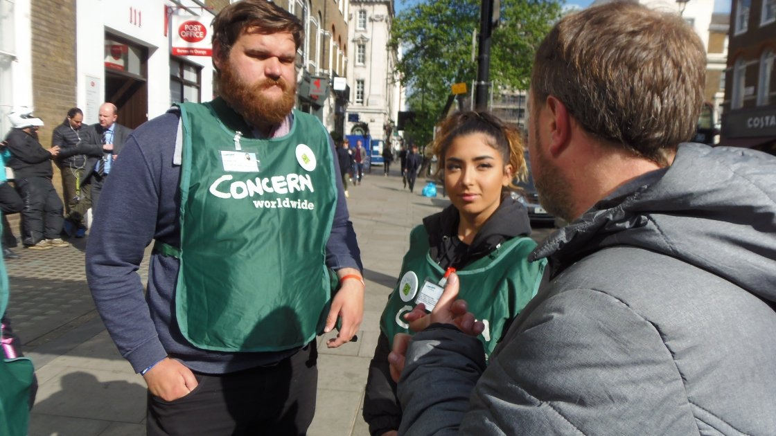 Concern Street Fundraisers Joe, Sirine and Enda in Baker Street, London. Photo: Lucy Bloxham