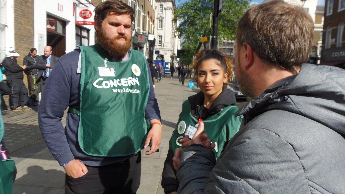 Concern Street Fundraisers Joe, Sirine and Enda in Baker Street, London. Photo: Lucy Bloxham