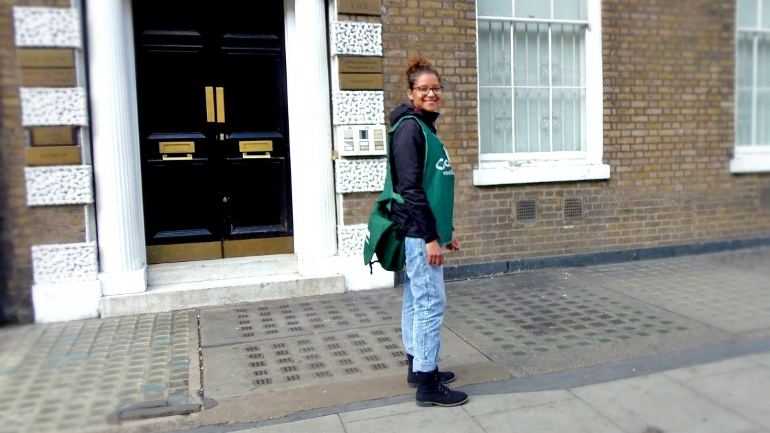 Concern Street Fundraiser Joanna in Baker Street, London. Photo: Lucy Bloxham